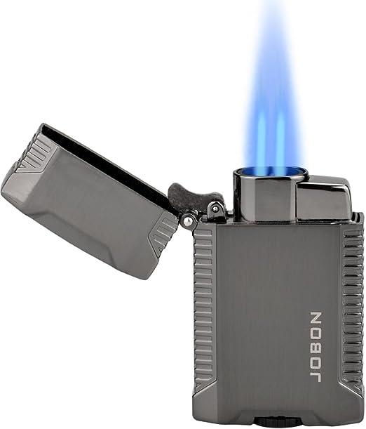 TOPKAY Mechero de doble chorro, resistente al viento, a gas butano, encendedor de cigarrillos, turbo doble chorro linterna encendedor: Amazon.es: Hogar