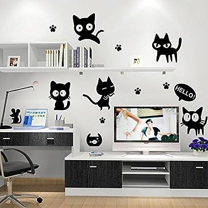Soledi®Pegatinas Adhesivos vinilos decorativos para pared Gatos Negros para Dormitorio salon habitación removible