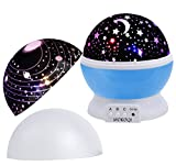 MOKOQI Baby Night Light Lamps For bedroom Romantic 360 Degree Rotating Star with Sky Moon Cover & Solar System Cover Projector Lights Color Changing LED For Children Kids Girls Baby Nursery Gift(Blue)