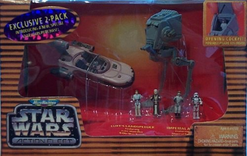 Micro Machines Star Wars Action Fleet - Luke's Landspeeder and Imperial - St Stores Lukes