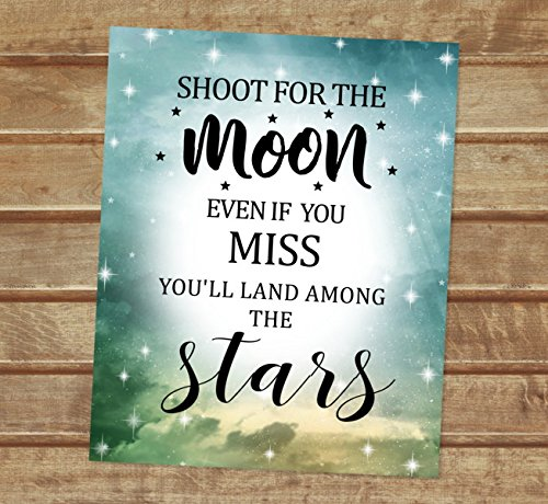 Amazoncom Shoot For The Moon Art Print Inspirational Quote Print