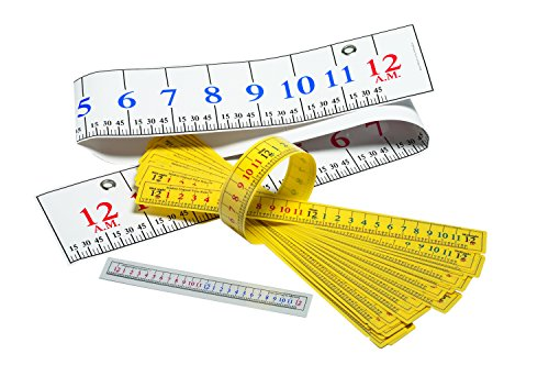 Learning Advantage 7542 Elapsed Time Ruler Class Pack, Grade: 2 to 5 (Elapsed Time Number Line)