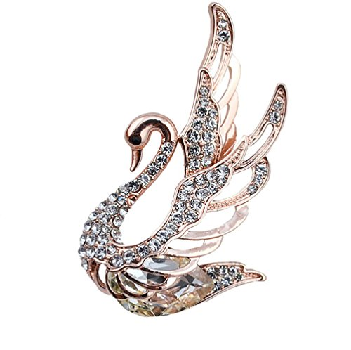 (TULIP LY Elegant Swan Bird Brooch Pin White Color Crystal Rose Gold Tone Brooch Womens Girl Gift)