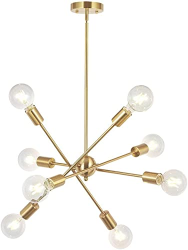 ZXMOTO Modern Sputnik Chandelier Lighting 8 Lights Fixture Ceiling Light Gold Brushed Brass Meteor Starburst Pendant Lamp Adjustable E26 E27 Socket