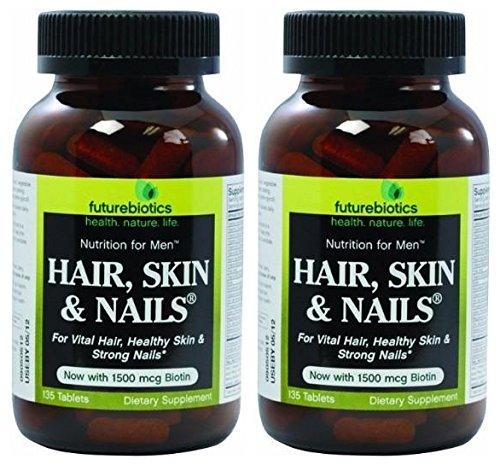 Futurebiotics Organics Hair, Skin and Nails for Men (Pack of 2) with Vitamin A, C, D, E, B2, B1, Niacin, Folic Acid, Biotin, Calcium, Iron, Iodine, Phosphorus, Magnesium and Zinc, 135 Tablets