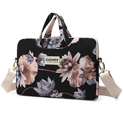 Price comparison product image Dachee Black Lotus atten Waterproof Laptop Shoulder Messenger Bag Case Sleeve for 14 Inch 15 Inch Laptop Case Laptop Briefcase 15.6 Inch