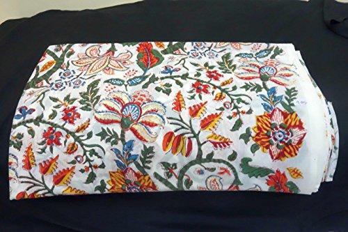 Govindstore 5 Yard Indian Ethnic Cotton Handmade Voile Running Hand Block Print Hand Block Sanganeri Fabric for Dressmaking, Sewing, Crafting, Width- 44