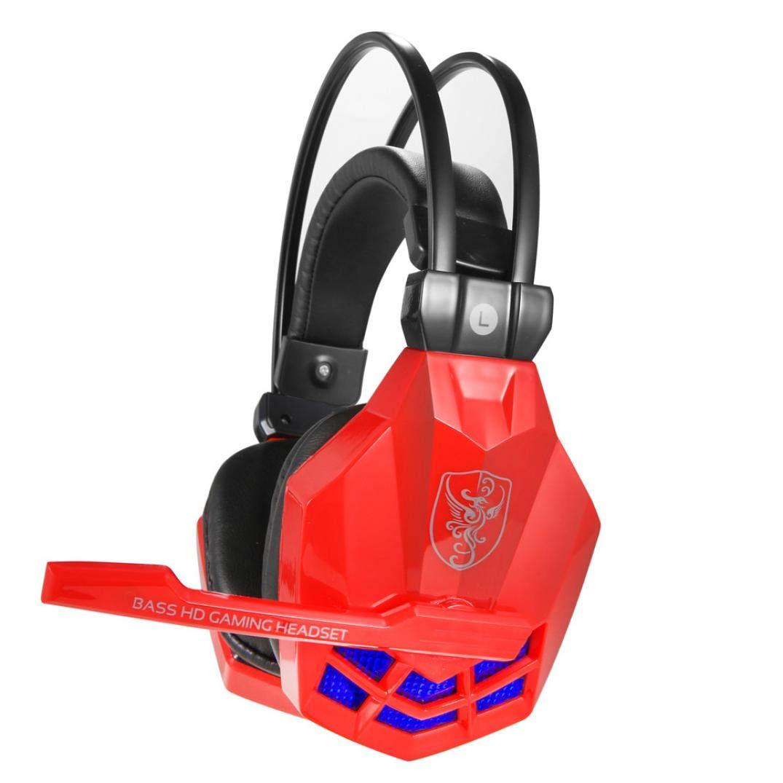 Cebbay Liquidación ¡Venta Caliente! Gaming Headset 2.2m Stereo Headband con USB 3.5mm LED y micrófono para PC (Negro)