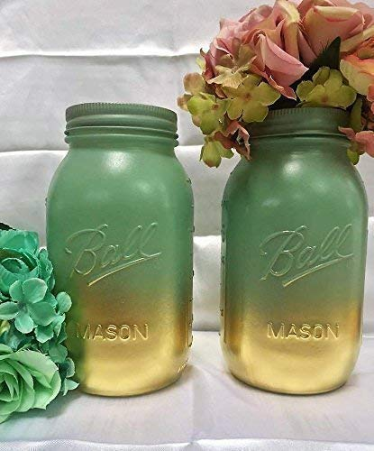 Pleasant Amazon Com Set Of 2 Mint Green And Gold Tall Painted Mason Download Free Architecture Designs Scobabritishbridgeorg