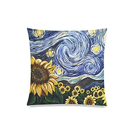Van Gogh Sunflower Rectangle Sofa Home Decorative Throw Pillow Case Cushion Cover Cotton Polyester Twin Side Printing 20 x 20 inch