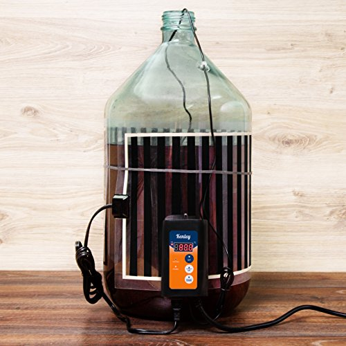 - Kenley Fermentation Carboy Heater with Thermostat - Kombucha Heating Kit - Home Brewing Heat Strip Belt Wrap Mat Brew Warmer Warming Pad with Temperature Controller - Works with any Vessel up to 8 Gal