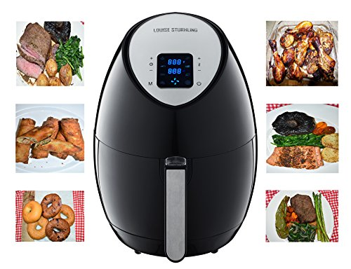 LOUISE STURHLING Advanced 1500W Air Fryer AF-K1BK01, LCD Easy Use Touchscreen Technology with 8-in-1 Pre-programmed One-touch Cooking Settings, 3.5 QT, Free Recipe book (Black)