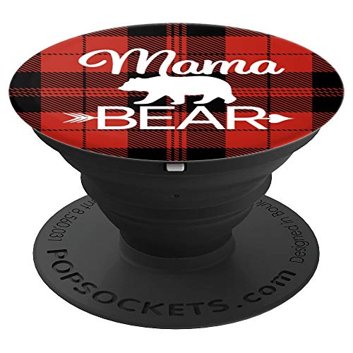 Mama Bear Red Plaid Women Cell Phone Accessory Gifts Mom Her - PopSockets Grip and Stand for Phones and Tablets