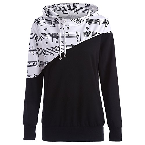 BeautyGal Women Casual Hoodies Sweatshirt Tops Two Tone Music Note Print Drawstring Pullover XL