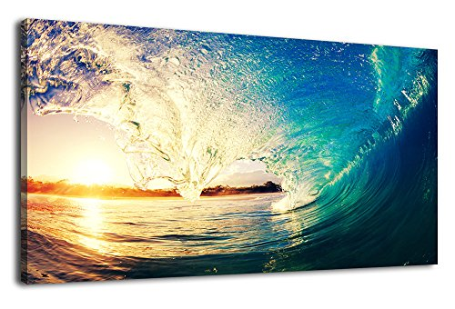 arteWOODS Wall Art Sunset Waves Canvas Painting Modern Ocean Artwork Large Panoramic Contemporary Pictures Sunset Sea Art for Kitchen Office Home Decoration by arteWOODS