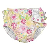 i play. Baby Girls Ruffle Snap Reusable Absorbent Swimsuit Diaper, Yellow Watercolor Floral, 12mo