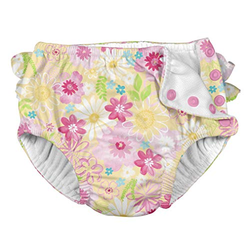 i play. Baby Girls Ruffle Snap Reusable Absorbent Swimsuit Diaper, Yellow Watercolor Floral, 24mo