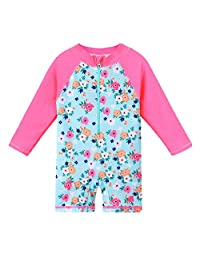 HUAANIUE Baby/Toddler Swimsuit Long Sleeve One-Piece Swimwear Rashguard