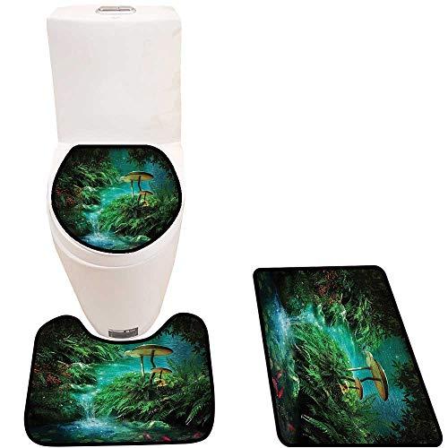 Cushion Non-Slip Toilet Mat Fantasy Pond Fish Mushroom Jungle Moss Eden Green Orangel Cushion Non-Slip