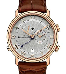 Blancpain Villeret Reveil GMT Stamped Flinque Opaline Dial Mens Watch 6640-3642-55B