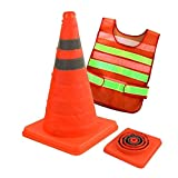 pop up traffic cones - Collapsible Traffic Cone, 15.7 Inches Foldable Multi-Purpose Safety Cone Pop up Reflective Safety Sports Extendable Cone Road Warning Sign Work Area Protection, 1 Pcs