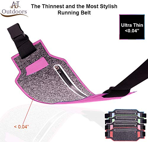 Ultra-thin Water Resistant Running Belt / Fannie Pack for Women and Men, Expandable Phone Belt to Hold Cell Phones, Cards, and Money. Ideal Waist Bag Waist Pack for Travel, Sports and Yoga (Pink)