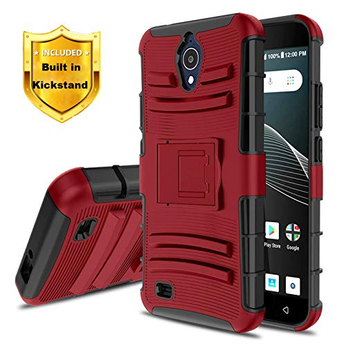 AT&T AXIA Case, Cricket Vision Phone Case w/Kickstand[Hybrid Dual Layer][Shockproof Bumper] Hard Armor Heavy Duty Protective Cover for AT&T AXIA QS5509A / Cricket Vision DQON5001,PC-red ()