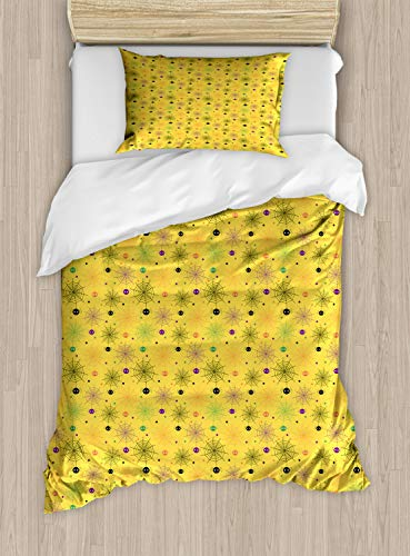 Lunarable Spiderweb Duvet Cover Set Twin Size, Cute and Funny Halloween Background Pattern with Spiders and The Smiling Faces, Decorative 2 Piece Bedding Set with 1 Pillow Sham, Multicolor ()