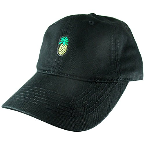 (AffinityAddOns Pineapple Dad Hat, Black Baseball Cap, Embroidered Patch)