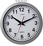 Stylish Silver & White Bold Classic Quartz Wall Clock Non Ticking Silent (25cm / 10-Inch Diameter), Home/Kitchen/Office/School Clock, Easy to Read