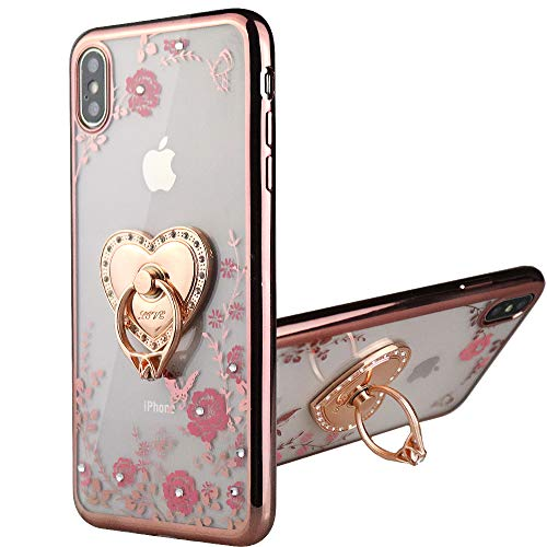 Flocute Bling Glitter Case with Kickstand for iPhone Xs Max Floral Pattern Luxury Sparkly Girly Slim Flexible Soft TPU Protective Case with Ring Stand - (Rose Gold)
