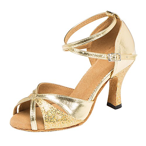 Zhuhaixmy New Frauen Satin Ballroom lateinisch Salsa Square Dance Anti-Rutsch Soft Tanzschuhe Gold 5cm