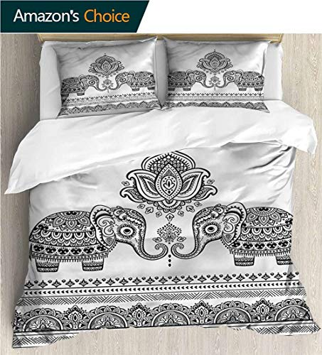 - Bedspread Set Queen Size,Box Stitched,Soft,Breathable,Hypoallergenic,Fade Resistant Print,Decorative Quilted 2 Piece Coverlet Set With 2 Pillow Shams-Elephant Lotus Flowers Art (79