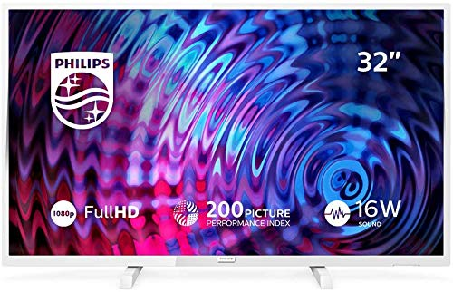 Televisor Philips 32PFS5603/12 32 Pulgadas (80 cm) Televisor LED Full HD Ultrafino (Pixel Plus HD, 2 entradas HDMI con EasyLink, USB, portátil), Color Blanco, Sintonizador Satélite