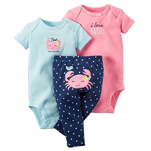 Carter's Baby Girls Take Me Away 3-Piece Little Character Set (Pink Crab, 18 Months)