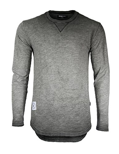 Mens Long Sleeve Crewneck Oil Wash Vintage Raw Edge Hem Hipster Hip-Hop T shirt