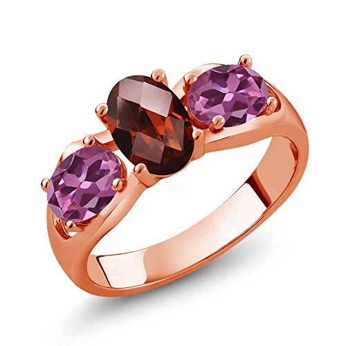 Gem Stone King 1.80 Ct Oval Checkerboard Red Garnet Pink Tourmaline 18K Rose Gold Plated Silver Ring (Size 5)