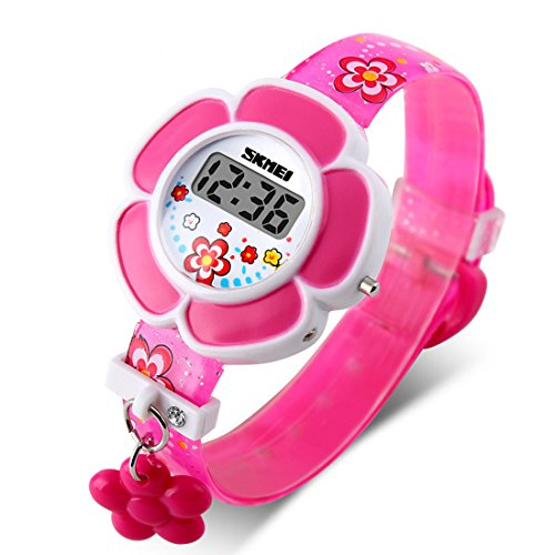 GRyiyi Girls Watch Novelty Flower Shape Digital Wrist Watch