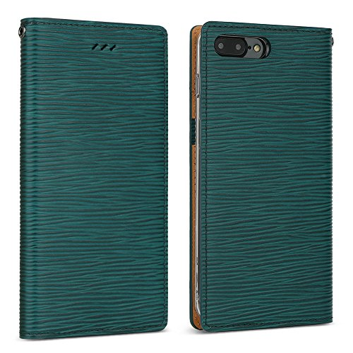 DesignSkin iPhone 8+ Flip Folio Wallet Case: 100% Leather That is Genuine Cowhide w/Card Slot & Cash Pocket for Apple iPhone 8 Plus / 7 Plus - Epi Green