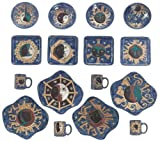 Mara Ceramic Stoneware 16 Piece Celestial Odd Shape Dinnerware Set For Sale