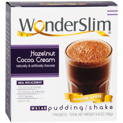 WonderSlim Low-Carb Meal Replacement Weight Loss Shake - Hazelnut Cocoa Cream - 15g Protein Diet Shake & Pudding Mix (7 Count)