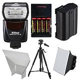 Nikon SB-700 AF Speedlight Flash with EN-EL15 & AA Batteries + Tripod + Softbox + Reflector for for D7100, D7200, D610, D750, D810 Digital SLR Camera
