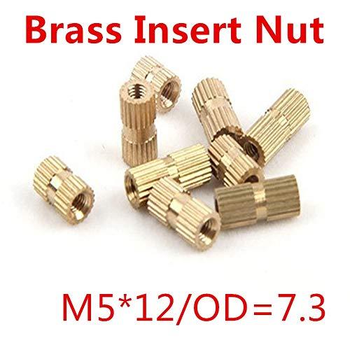 Single Thread Brass Knurl Nut OD=7.3mm Ochoos 100pcs//lot M512 Blind End Brass Insert Nut
