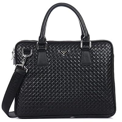 durable modeling DANJUE Genuine Leather Briefcases Bags Woven Top Handles  Men Messenger Bag Business Shoulder Satchel a132a886489db