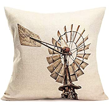 Xihomeli Throw Pillow Cover Vintage Rural Wood Windmill Pillowcase Countryside Culture Farming Dutch Holland Design Cotton Linen Decorative Cushion Cover for Home Square 18