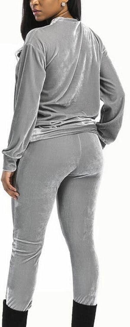 Jaycargogo Womens Velvet Long Sleeve Sweatshirt Sweatpants 2 Piece Set Outfits