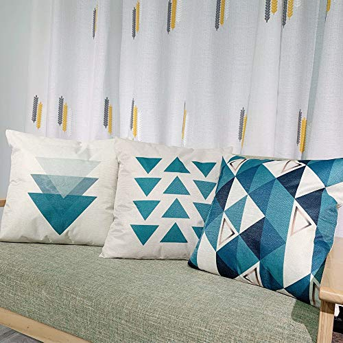 Vonloge Pillow Covers 18x18 Inches Throw Pillow Cover Set of 4 Cotton Linen Pillow Cases for Home Decorative, Living Room Couch Sofa Bed Car, Blue