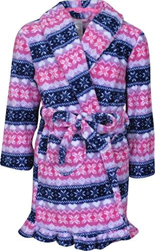 - Rene Rofe Girl\'s Fleece Lined Bathrobe, Pink/Navy, Medium / 7-8'
