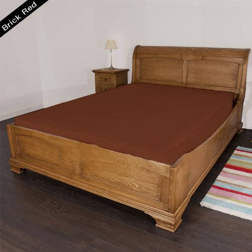 """UPC 888099626918, 600 Thread Count 1 PC Fitted Sheet 100% Egyptian Cotton Solid Brick Red Full 22"""" Deep Pocket"""
