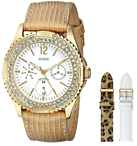 GUESS Women's U13597L1 Feminine Classic Gold-Tone Watch with Interchangeable Leather Straps